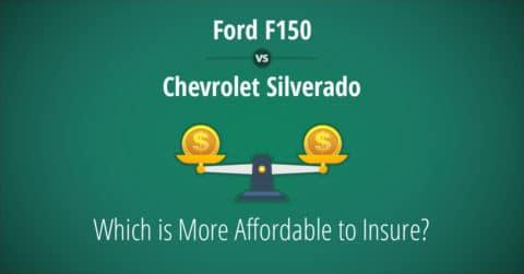 Ford F150 vs Chevrolet Silverado insurance comparison illustration