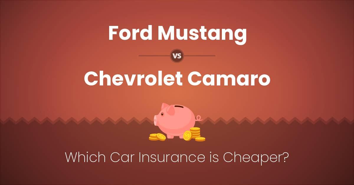 Ford Mustang vs Chevrolet Camaro insurance comparison illustration