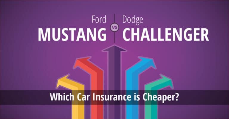 Ford Mustang vs Dodge Challenger insurance comparison illustration