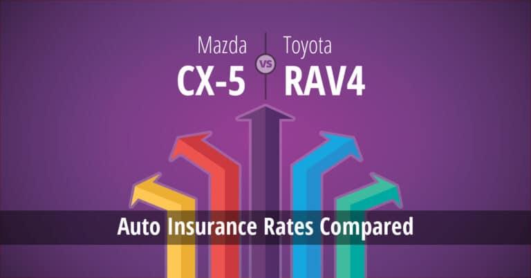 Mazda CX-5 vs Toyota RAV4 insurance comparison illustration