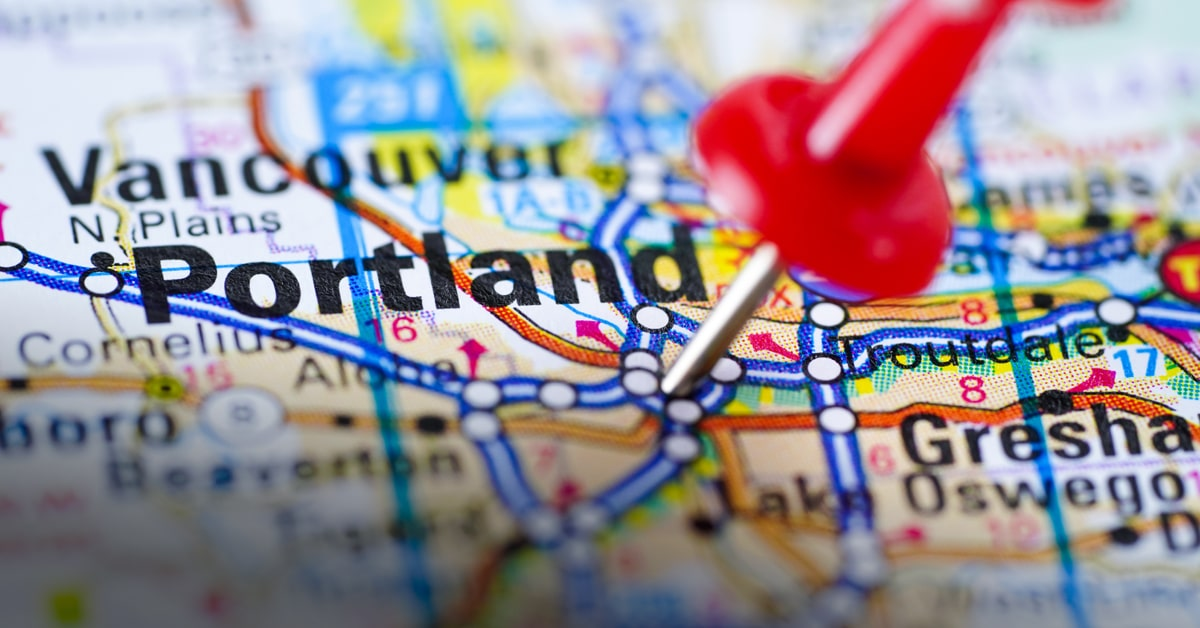 Map pin of Portland, Oregon